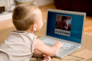 Baby at a laptop