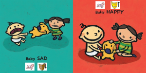 Using pixons with the Baby Happy Baby Sad book